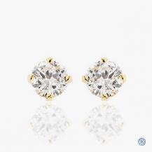 14k yellow gold 0.70ct diamond stud earrings