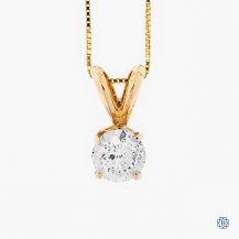 14k yellow gold 0.61ct diamond pendant and chain