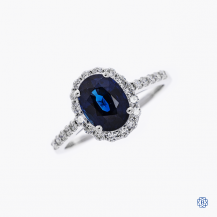 18kt white gold sapphire and diamond engagement ring