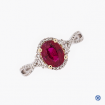 18k white and rose gold ruby and diamond ring