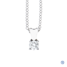14kt White Gold 0.16ct Solitaire Diamond Pendant with 18kt Gold Chain