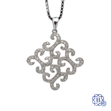 18k white gold and diamond pendant with chain