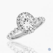 Simon G 18kt White Gold Moissanite and Diamond Engagement Ring