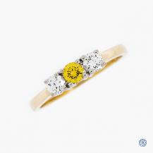 14k yellow and white gold diamond trinity ring