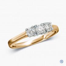 14k Yellow and White Gold 0.45ct Three-Stone Diamond Engagement Ring