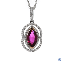 18kt white and yellow gold, ruby and diamond pendant with chain