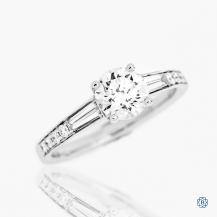 Simon G 18k white gold 1.02ct Maple Leaf Diamond engagement ring