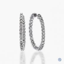 Gabriel & Co. 14k white gold 3.00cts diamond hoop earrings