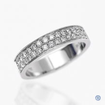 18k white gold and diamond double row band