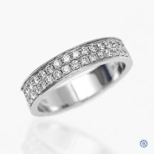 18k white gold and diamond double row band