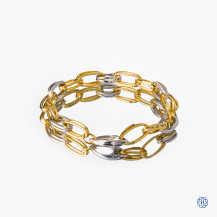 14k yellow and white gold open link bracelet