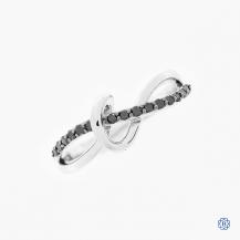 10k white gold and black diamond ring