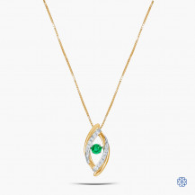 10k Yellow and White Gold Emerald and Diamond Necklace
