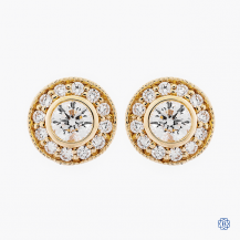 14k yellow gold and diamond cluster style studs