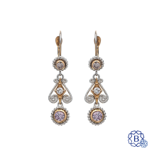 18k rose and white gold fancy drop style diamond earrings