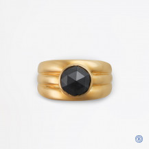 14k yellow gold and black diamond ring