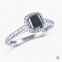 Tacori Platinum Petite Crescent 0.75ct black diamond engagement ring
