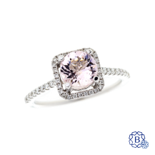 14k white gold morganite and diamond ring
