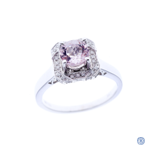 18kt white gold, morganite and diamond engagement ring