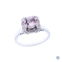 18kt white gold, morganite and diamond engagement ring