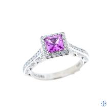 Tacori 18k white gold pink sapphire and diamond Tacori engagement ring