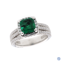platinum tacori emerald and diamond ring