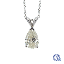 14k white gold prong set solitaire diamond pendant with Chain