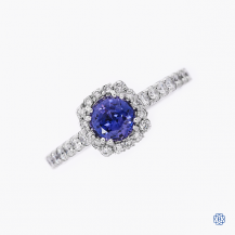 Tacori 18k white gold sapphire and diamond engagement ring