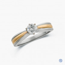 14k white and yellow gold 0.50ct diamond solitaire engagement ring