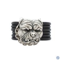 Scott Kay Silver and Leather Bulldog bracelet