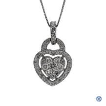 14kt white gold diamond heart pendant with chain