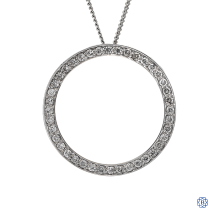 14kt white gold circular diamond pendant with chain