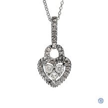 10k white gold diamond heart pendant with chain