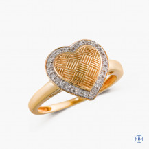 10k yellow gold and diamond heart shaped ring
