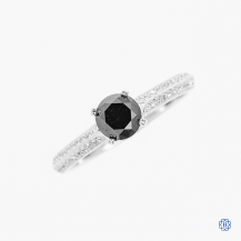 14k white gold 0.70ct Black Diamond ring