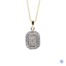 14k white gold diamond oval pendant with chain