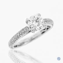 Simon G 18kt white gold 0.90ct moissanite engagement ring