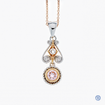 18k rose and white gold pink diamond pendant