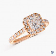 14kt rose gold maple leaf diamond engagement ring