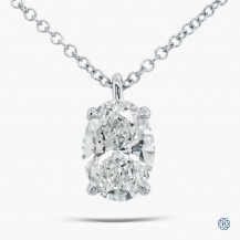 10k white gold 1.56ct Lab Created Diamond Pendant with chain