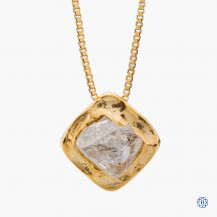 14k yellow gold natural Maple Leaf Diamond round diamond crystal  pendant with chain
