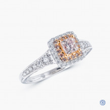 18k Palladium white gold and 14k rose gold 0.31ct purple Maple Leaf Diamond engagement ring