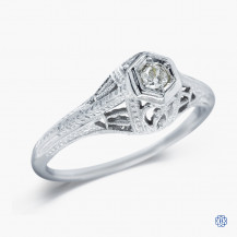 18k white gold and diamond vintage style ring
