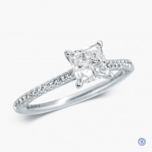 Tacori 18k White Gold 1.03ct Lab Created Diamond Petite Crescent Engagement Ring