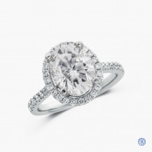 14k white gold 2.75ct Lab-Created moissanite and diamond engagement ring