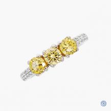 14k white gold yellow diamond ring
