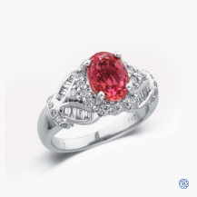 18k white gold red sapphire and diamond ring