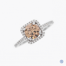 14k white gold 1.01ct champagne diamond ring