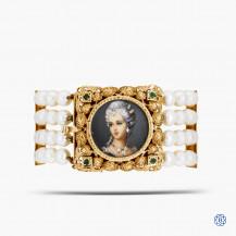 18k Yellow Gold Pearl, Diamond and Emerald Bracelet