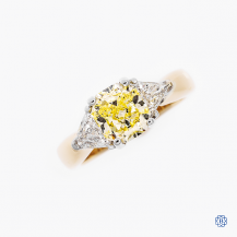 14kt yellow and white gold 1.61ct Fancy Yellow diamond engagement ring